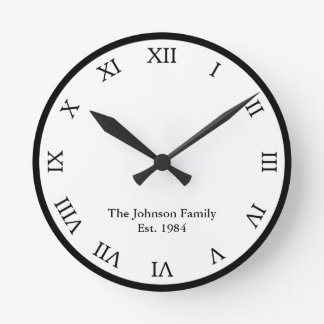Personalized Roman Numeral Wall Clocks