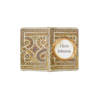 Personalized Romanesque Mosaic Pattern Passport Holder