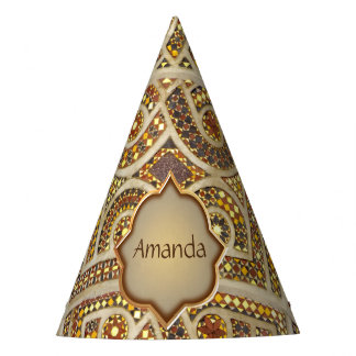 Personalized Romanesque Tile Pattern Party Hat