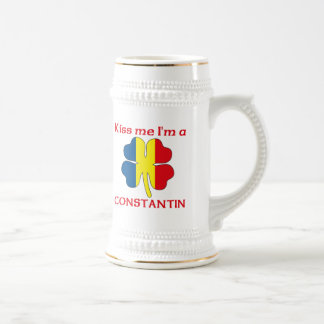 Personalized Romanian Kiss Me I'm Constantin 18 Oz Beer Stein