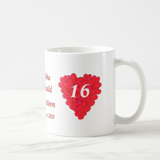 Personalized romantic heart Sweet Sixteen Coffee Mug