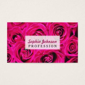 Personalized Romantic Pink Purple Roses Business Card
