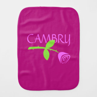 Personalized Rose Bud Burp Cloth