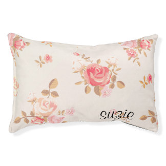 Personalized Rose Flora Dog Bed