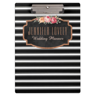 Personalized Rose Gold Black and White Stripes Clipboard