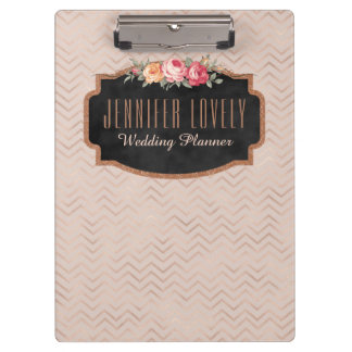 Personalized Rose Gold Chevron Stripes Floral Clipboard