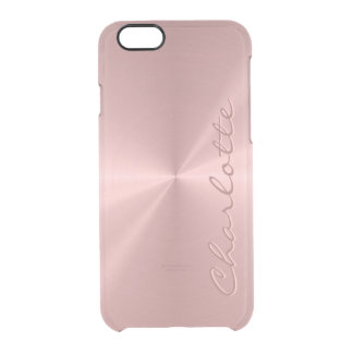 Personalized Rose Gold Stainless Steel Metallic Clear iPhone 6/6S Case
