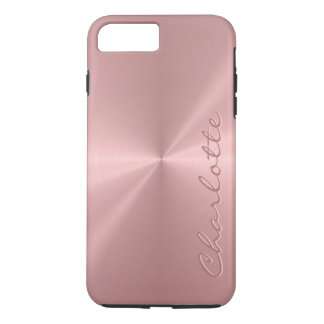 Personalized Rose Gold Stainless Steel Metallic iPhone 7 Plus Case