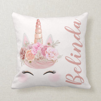 Personalized Rose Gold Unicorn Floral Throw Pillow