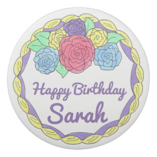 Personalized Rose Happy Birthday Cake Party Favor Eraser