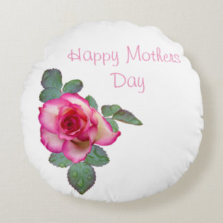 Personalized Rose Mothers Day Round Pillow