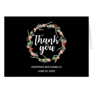 Personalized Roses & Berries Wreath Thank You Note Card