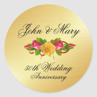 Personalized Roses & Gold 50th Wedding Anniversary Classic Round Sticker