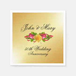 Personalized Roses & Gold 50th Wedding Anniversary Disposable Napkin