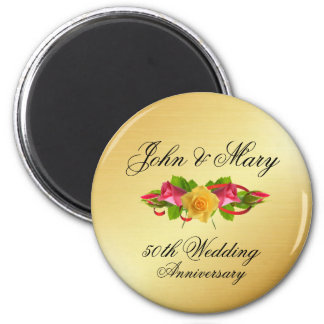 Personalized Roses & Gold 50th Wedding Anniversary Magnet