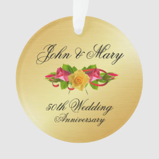 Personalized Roses & Gold 50th Wedding Anniversary Ornament