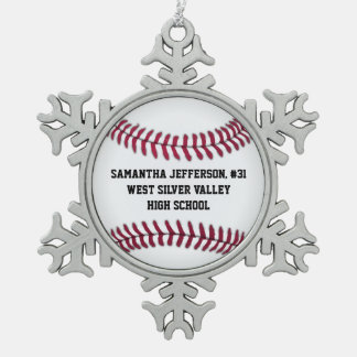 Personalized Round Baseball Sports Pewter Snowflake Ornament
