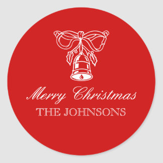 Personalized round Christmas gift tags | Xmas bell