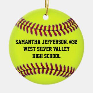 Personalized Round Softball Sports Ornament