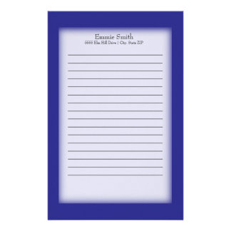 Personalized Royal Blue and White Stationery