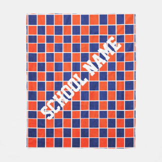 Personalized Royal Blue & Orange Checkered Blanket