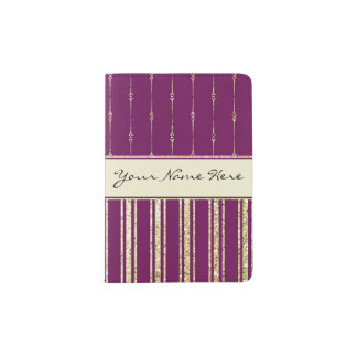 Personalized Royal Purple and Faux Glitter Stripes Passport Holder