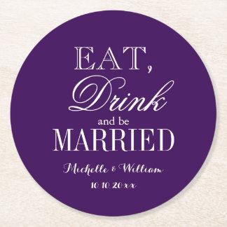 Personalized royal purple round wedding coasters