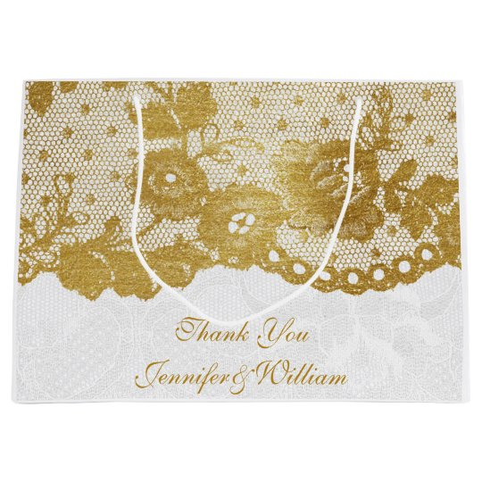 Personalized Royal Wedding Gold White Lace Large Gift Bag