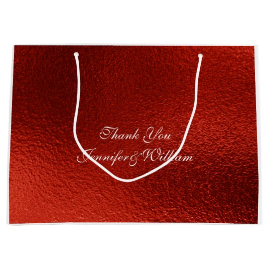 Personalized Royal Wedding Red Metallic Shiny Large Gift Bag