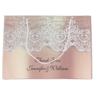 Personalized Royal Wedding Rose Metallic Pink Gold Large Gift Bag