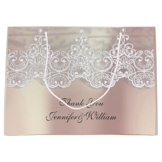 Personalized Royal Wedding Rose Metallic Pink Gold Large Gift Bag