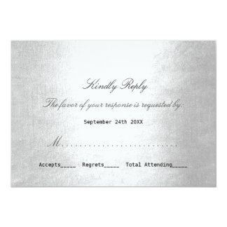 Personalized RSVP Silver Minimalism Delicate Scrip Card
