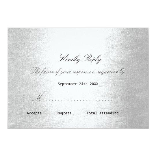Personalized RSVP Silver Minimalism Delicate Scrip Invitation