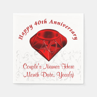 Personalized Ruby 40th Anniversary Napkins Paper Napkins