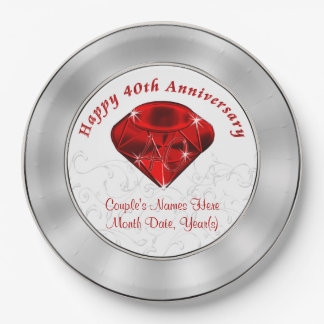 Personalized  Ruby 40th Anniversary Paper Plates