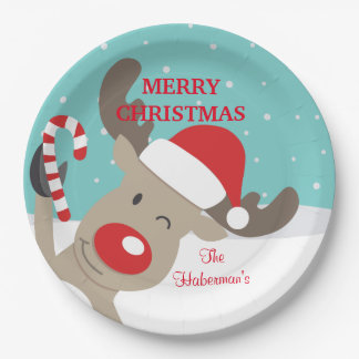 Personalized Rudolph Reindeer with Candy Cane 9 Inch Paper Plate