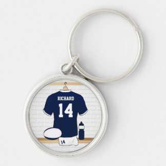 Personalized Rugby Jersey in locker room Silver-Colored Round Keychain