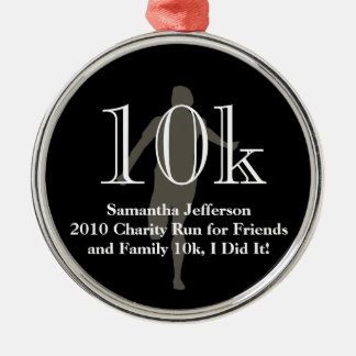Personalized Runner 10k Cross-Country Keepsake Silver-Colored Round Ornament