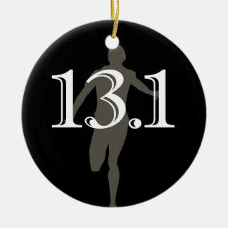 Personalized Runner 13.1 Half Marathon Keepsake Round Ceramic Ornament