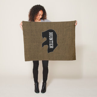 Personalized Rustic Burlap Bear Name Fleece Blanket