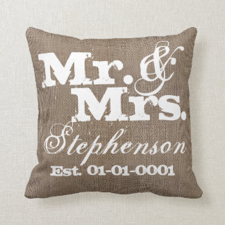 Personalized Rustic Burlap-Look Wedding Keepsake Throw Pillow