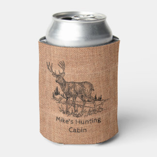 Personalized Rustic Burlap with Deer Illustration Can Cooler