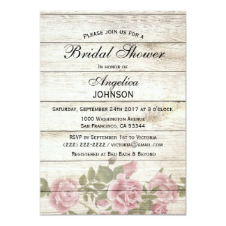 Personalized Rustic Chic Vintage Bridal Shower Card