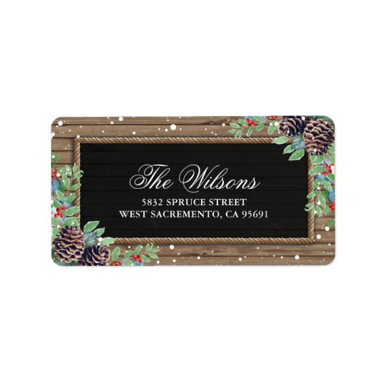 Personalized Rustic Country Christmas Winter Label