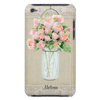Personalized Rustic Country Mason Jar Blush Rose iPod Touch Cover