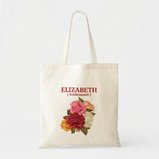 Personalized Rustic Floral Bridesmaid Tote Bag
