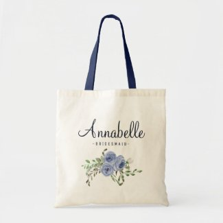 Personalized Rustic Floral Navy Blue Bridesmaid Tote Bag