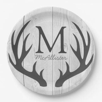 Personalized - Rustic Gray Deer Antlers White Wood Paper Plate