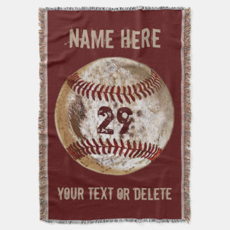 PERSONALIZED Rustic Grunge Baseball Throw Blanket