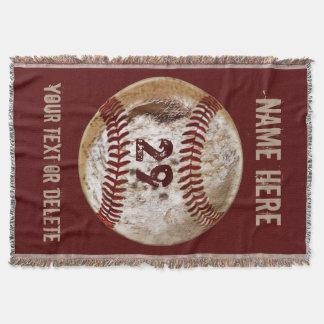 PERSONALIZED Rustic Grunge Baseball Throw Blanket